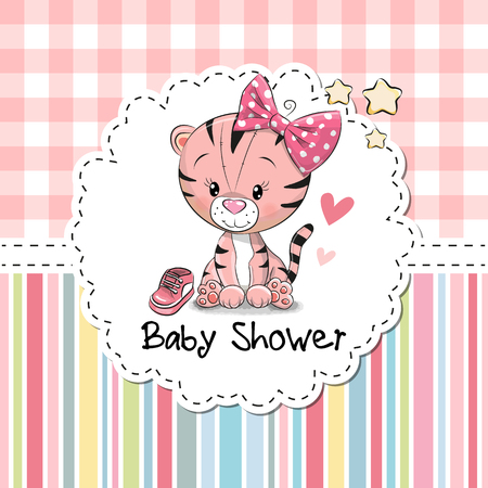 Baby Shower Greeting Card with cute Cartoon Tiger girl Stock Illustratie