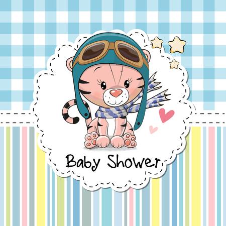귀여운 만화 호랑이와 베이비 샤워 인사말 카드 스톡 콘텐츠 - 82670593