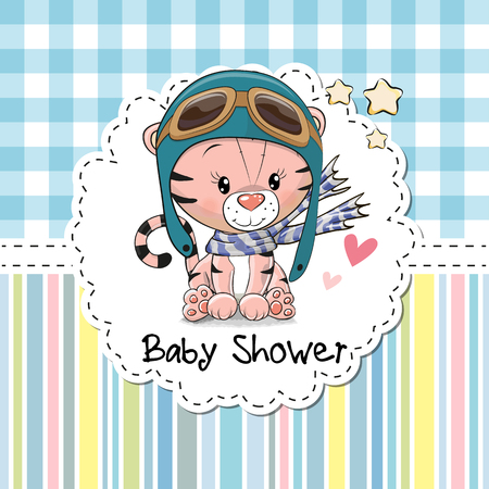 Baby Shower Greeting Card with cute Cartoon Tiger Zdjęcie Seryjne - 82670593