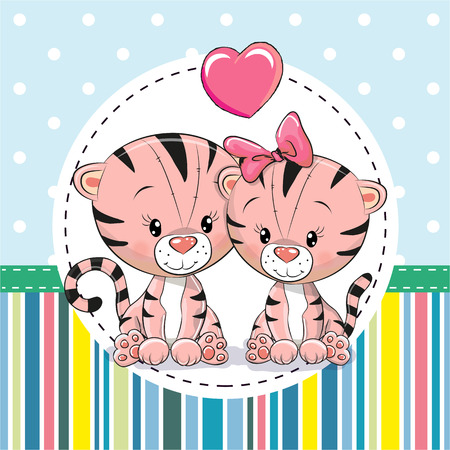 Greeting card with Two cute Cartoon Tigers