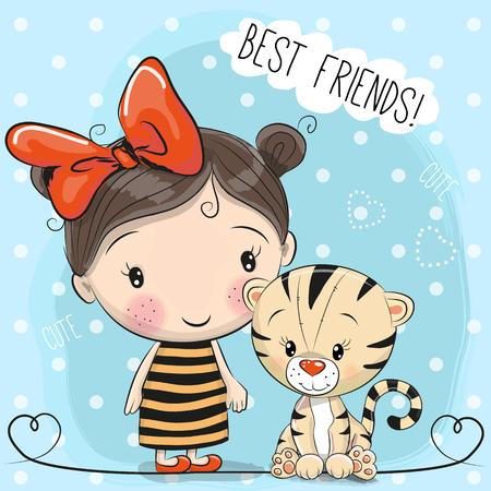 Leuke tijger en meisje op een blauwe achtergrond Stock Illustratie