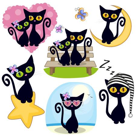 Conjunto de dibujos animados lindo gato negro sobre un fondo blanco