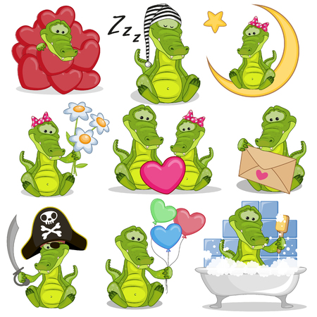 Set of Cute Cartoon Crocodile on a white background 向量圖像