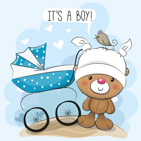 tarjeta de felicitación de su un muchacho con el carro de bebé y oso de peluche