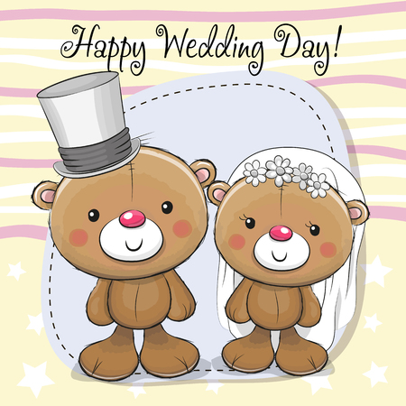 Greeting card Teddy Bride and Teddy groom