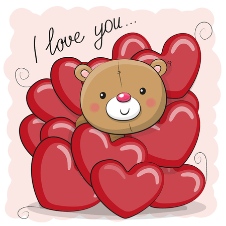 Valentine card with teddy bear in hearts
