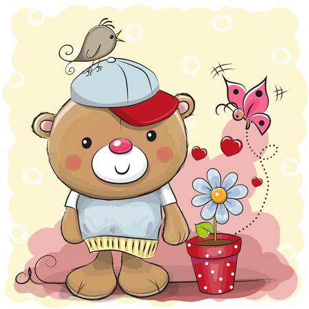 Greeting card cute cartoon Teddy bear with flower