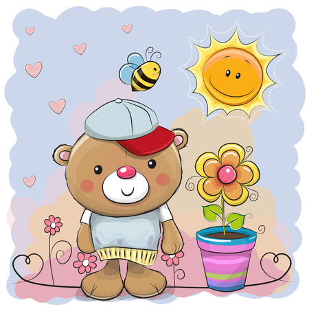 Greeting card cute cartoon Teddy bear with flower