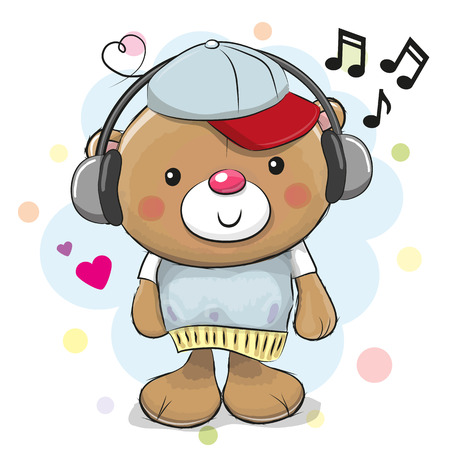 Cute cartoon Teddy Bear with headphones Illustration