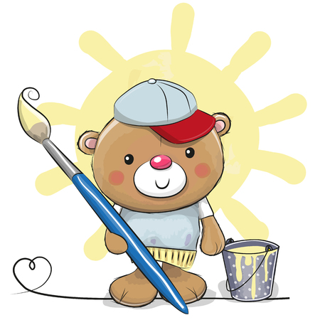 Cute Teddy Bear with brush is drawing a sun 向量圖像