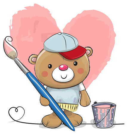 Cute Teddy Bear with brush is drawing a heart