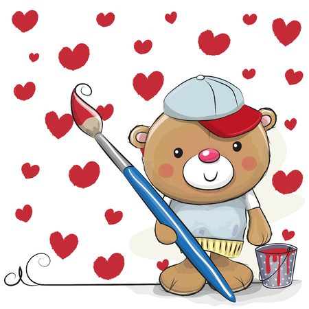 Cute Teddy Bear with brush is drawing a hearts