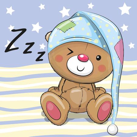 후드에 귀여운 테디 베어 자고