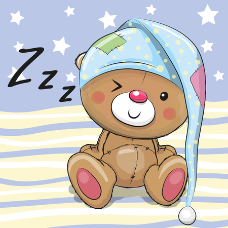 Sleeping cute Teddy Bear in a hood