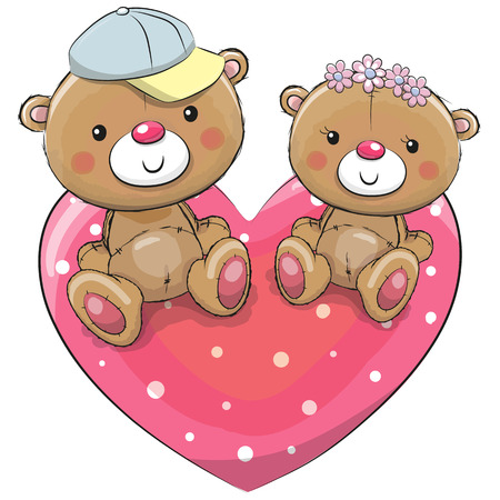 Two Teddy Bears are sitting on a heart