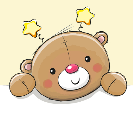 Cute Drawing Teddy bear on a yellow background