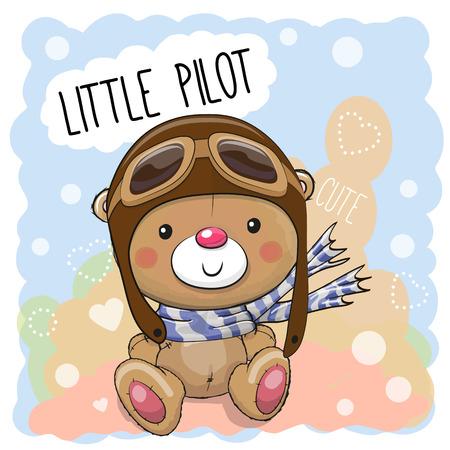 かわいい漫画テディベア パイロット帽子