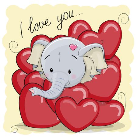 마음에 귀여운 만화 코끼리와 발렌타인 데이 카드
