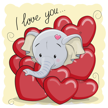 Valentine card with Cute Cartoon Elephant in hearts Ilustração