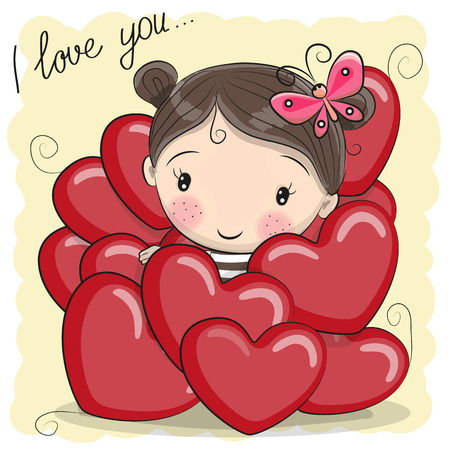 Valentine card with Cute Cartoon Girl in hearts