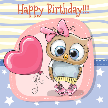 Greeting card Cute Cartoon Owl girl with balloon Ilustração