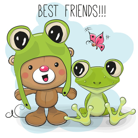 Cute Cartoon Teddy Bear in a frog hat and frog Stock Vector - 83306713