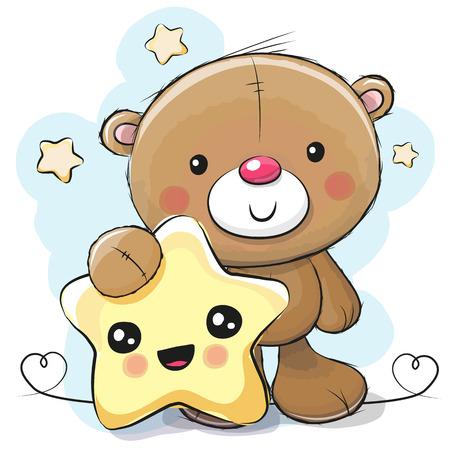 별 배경에 웃는 별과 귀여운 만화 테 디 베어 스톡 콘텐츠 - 83306717