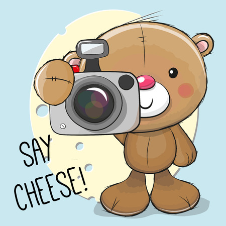 Cute cartoon Teddy Bear with a camera on a cheese background Illustration