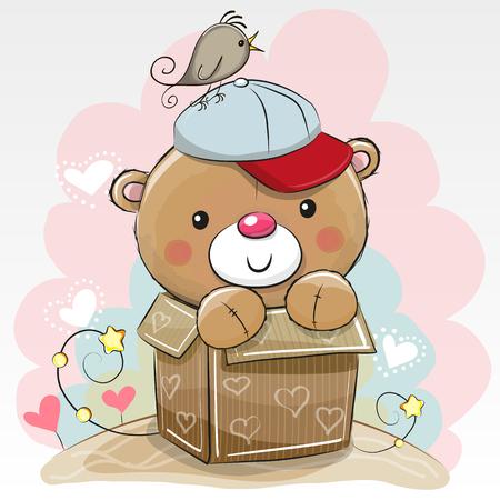 Birthday card with a Cute Teddy bear and a bird Çizim