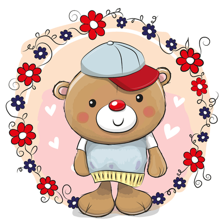 Greeting card Cute Teddy Bear with flowers