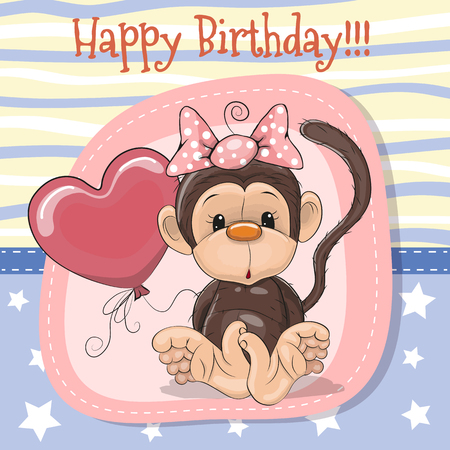 Greeting card Cute Cartoon Monkey with balloon Ilustracja