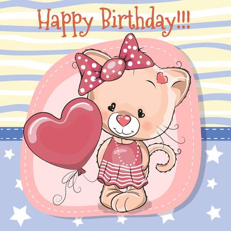 인사말 카드 귀여운 만화 새끼 고양이 풍선