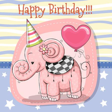 Tarjeta de felicitación de dibujos animados lindo elefante con globo Foto de archivo - 83306734