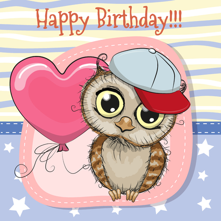 Greeting card Cute Cartoon Owl with balloon