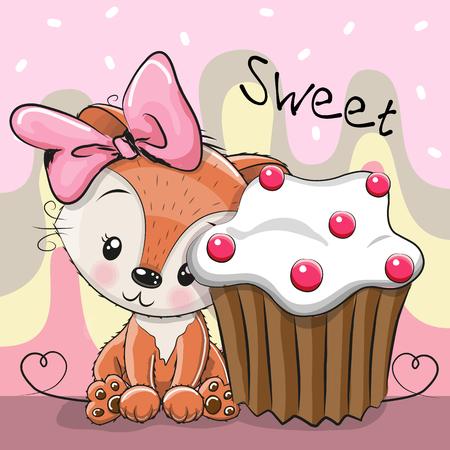 Greeting card Cute Cartoon Fox with cake