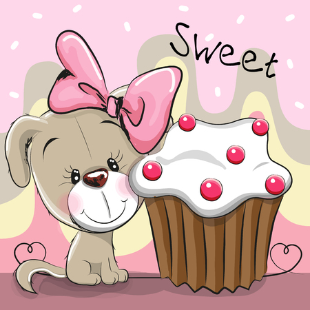 Greeting card Cute Cartoon Puppy with cake Illustration
