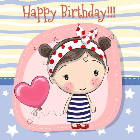 Tarjeta de felicitación Chica linda de dibujos animados con globo Foto de archivo - 83354346
