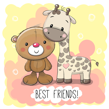 Cute Cartoon Bear and Giraffe on a pink background