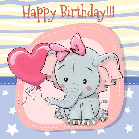 인사말 카드 귀여운 만화 코끼리와 풍선