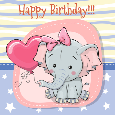 Greeting card Cute Cartoon Elephant with balloon Ilustração