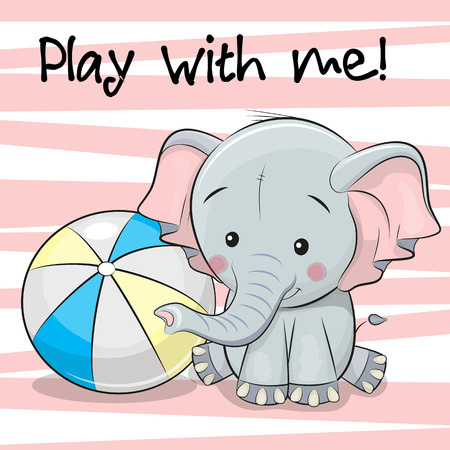 Cute Elephant with a ball on a pink background