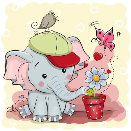 Greeting card cute cartoon Elephant with flower Vettoriali