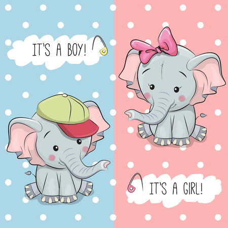Baby Shower greeting card with Elephants boy and girl Фото со стока - 83364770