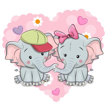 Two Cute Cartoon Elephants on a background of heart