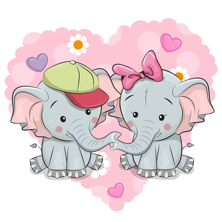 Two Cute Cartoon Elephants on a background of heart
