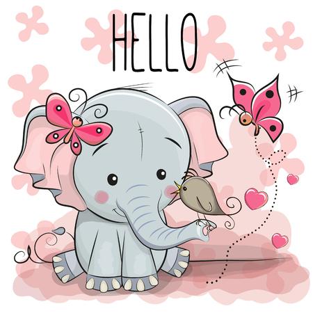 Tarjeta de felicitación de dibujos animados lindo Elefante con pájaro Foto de archivo - 83364774