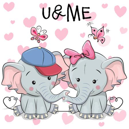Two cute Elephants on a hearts background