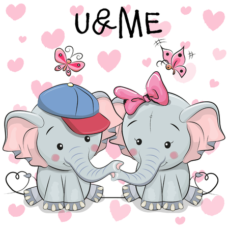 Two cute Elephants on a hearts background