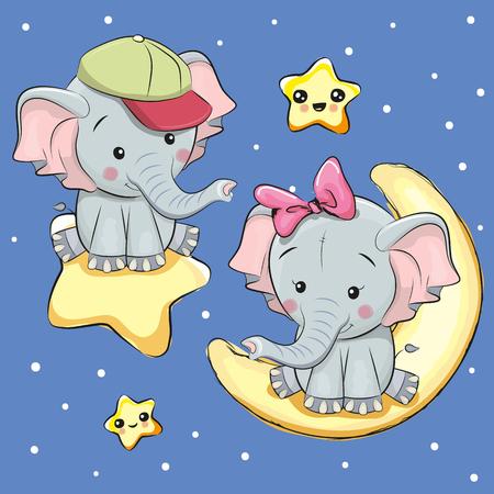 달과 별에 연인 코끼리와 발렌타인 데이 카드 일러스트