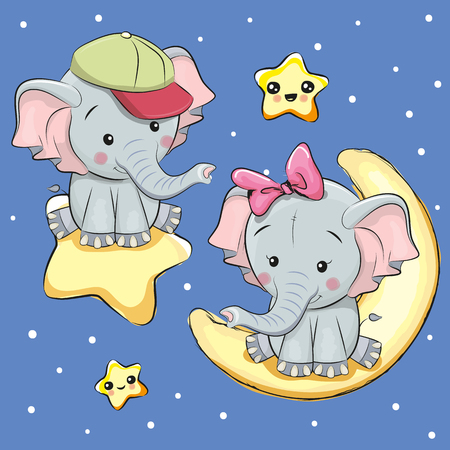 Valentine card with Lovers Elephants on a moon and star